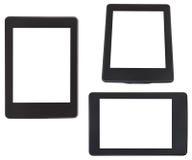 Sistema del lector del eBook con la pantalla cortada aislada Imágenes de archivo libres de regalías
