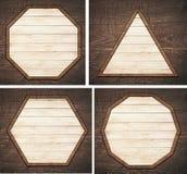 Sistema del letrero de madera marrón, placa, tablones y Fotos de archivo