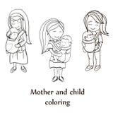 Sistema del libro de colorear del vector Madres felices que llevan sus childs Imagen de archivo libre de regalías