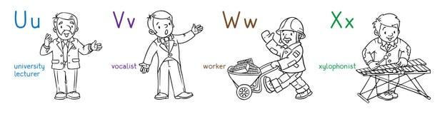 Sistema del libro de colorear de las profesiones de ABC stock de ilustración