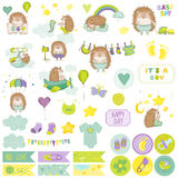 Sistema del libro de recuerdos del erizo del bebé Vector Scrapbooking Elementos decorativos Fotos de archivo