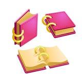 Sistema del libro del rosa de la historieta Foto de archivo