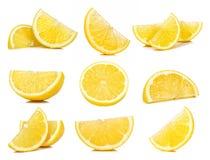 Sistema del limón de la rebanada aislado en el fondo blanco fotografía de archivo