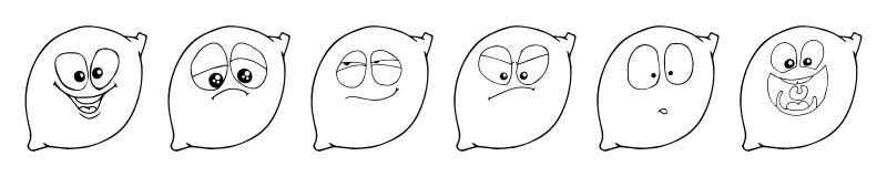Sistema del limón de sonrisas divertidas Recoja las frutas y la comida Ilustración de la historieta del vector Caracteres elegant libre illustration