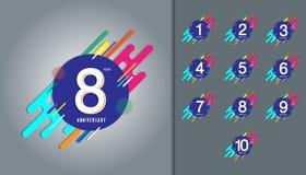 Sistema del logotipo del aniversario Celebración del aniversario con el colorf Imagen de archivo