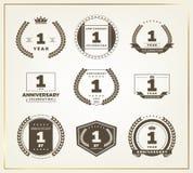 sistema del logotipo del aniversario de 1 año Foto de archivo libre de regalías