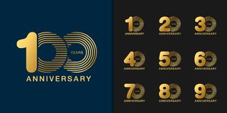 Sistema del logotipo del aniversario Diseño de oro del emblema de la celebración del aniversario para el perfil de compañía, foll stock de ilustración