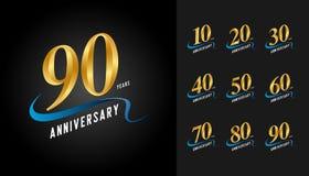 Sistema del logotipo del aniversario Embl de oro de la celebración del aniversario ilustración del vector