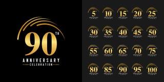 Sistema del logotipo del aniversario Emblema de oro de la celebración del aniversario Diseño para el perfil de compañía, folleto, stock de ilustración
