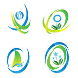 Sistema del logotipo azul y verde del icono libre illustration
