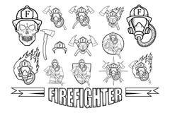 Sistema del logotipo del bombero Imagen de archivo