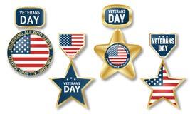 Sistema del logotipo del día de veteranos, estilo realista ilustración del vector