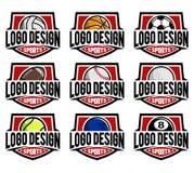 Sistema del logotipo de la bola del deporte Fotografía de archivo