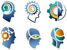 Sistema del logotipo de la cabeza y del engranaje ilustración del vector