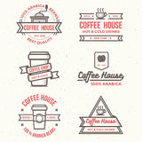Sistema del logotipo de la cafetería, insignias, bandera - vector el ejemplo Imagen de archivo libre de regalías