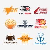 Sistema del logotipo de la comida Fotografía de archivo libre de regalías
