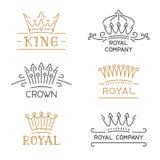 Sistema del logotipo de la corona Corona de lujo en la línea estilo de moda Imágenes de archivo libres de regalías