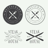 Sistema del logotipo, de la insignia y del emblema del restaurante del vintage Fotografía de archivo libre de regalías