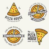 Sistema del logotipo de la pizza, insignias, banderas, emblema para el restaurante de los alimentos de preparación rápida Imagenes de archivo