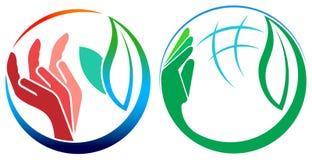 Sistema del logotipo de las hojas Fotos de archivo