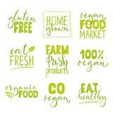 Sistema del logotipo de nueve alimentos biológicos con las letras Combinaciones dibujadas mano sana del texto de la comida Imágenes de archivo libres de regalías