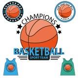 Sistema del logotipo del campeonato del baloncesto Vector Foto de archivo