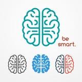 Sistema del logotipo del cerebro stock de ilustración