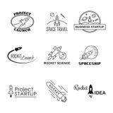 Sistema del logotipo del diseño del cohete del vector aislado Foto de archivo libre de regalías