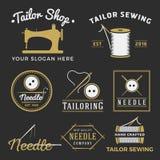 Sistema del logotipo del emblema de la tienda del sastre del vintage Imagen de archivo libre de regalías