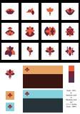 Sistema del logotipo del estilo del estampado de plores de la simetría Imagenes de archivo