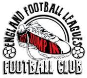 Sistema del logotipo del fútbol, diseño atlético de la moda de la camiseta, deporte Typogr Fotos de archivo libres de regalías