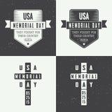 Sistema del logotipo del Memorial Day Imágenes de archivo libres de regalías