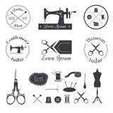 Sistema del logotipo del sastre del vintage Foto de archivo libre de regalías
