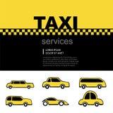 Sistema del logotipo del servicio del taxi Foto de archivo libre de regalías