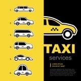 Sistema del logotipo del servicio del taxi Imagen de archivo libre de regalías
