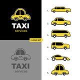 Sistema del logotipo del servicio del taxi Fotos de archivo libres de regalías