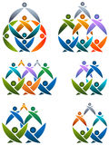 Sistema del logotipo del trabajo en equipo Fotografía de archivo libre de regalías