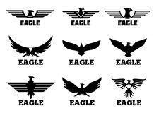 Sistema del logotipo del vector de Eagles Fotos de archivo