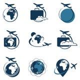 Sistema del logotipo del viaje Foto de archivo libre de regalías