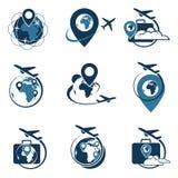 Sistema del logotipo del viaje Fotos de archivo libres de regalías