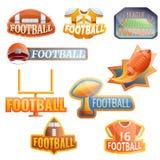 Sistema del logotipo del equipo del f?tbol americano, estilo de la historieta ilustración del vector