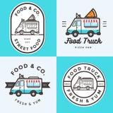 Sistema del logotipo, insignias, banderas, emblema para el festival del camión de la comida entrega de los alimentos de preparaci Foto de archivo