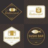 Sistema del logotipo japonés de la comida del color de oro, insignias, banderas, emblema para el restaurante asiático de la comid Imagen de archivo