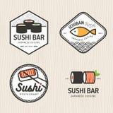 Sistema del logotipo japonés de la comida, insignias, banderas, emblema para el restaurante asiático de la comida Imagen de archivo