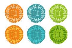 Sistema del logotipo del vector de etiquetas en los colores de la naranja, verdes y azules ilustración del vector
