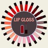 Sistema del lustre del labio en fondo beige Paleta decorativa de los cosméticos Fotografía de archivo libre de regalías