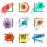Sistema del marco de la pintura y del cuadrado stock de ilustración