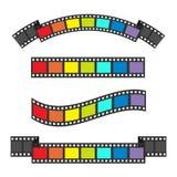Sistema del marco de la tira de la película de la bandera del arco iris Diversa cinta de la forma Elemento del diseño Fondo blanc Imágenes de archivo libres de regalías