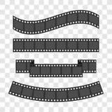 Sistema del marco de la tira de la película Diversa cinta de la forma Elemento del diseño Fondo transparente del diseño de la pla Imagen de archivo