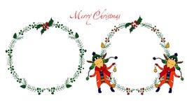 Sistema del marco de los ciervos de la Navidad Fotos de archivo